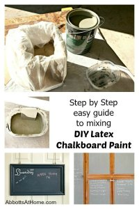 Step by step photo guide to mixing and using latex chalkboard paint