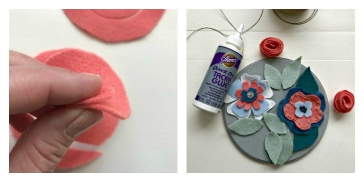 Kids Valentines Art Wood Crafts - felt flowers