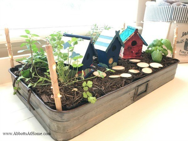 This LED Lighted DIY Fairy Garden Tray is a quick and easy DIY. Fill with your favorite plants, herbs, or succulents and decorate with birdhouses, vintage decor, or any other favorite items.