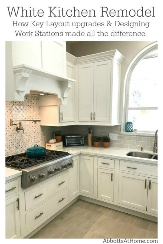 See the reveal for our white kitchen update. Plus, hhow to change the layout and plan a kitchen with good flow before your remodel. Starmark Kitchen Cabinets & Lusso Quartz. #AbbottsAtHome #KitchenRemodel #KitchenUpdate #KitchenMakeover