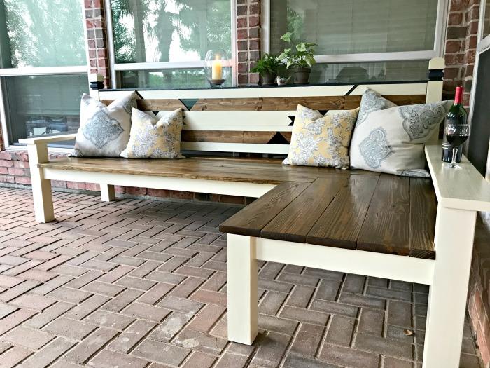 diy outdoor corner bench build just