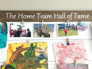 This DIY Display Board is your family 'Hall of Fame'. Keeps your kids artwork, race medals, certificates of achievement, vacation mementos, photos, and special family memories in one place. You could even add a shelf to display trophies!
