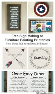 Free Sign Making and Furniture Painting Printables. Make your own painted or hand lettered signs with these printables. Tutorial to design your own included. Use these images for furniture painting makeovers too.