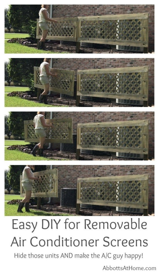 I love this DIY Removable AC Screen! Hide those air conditioners, allow proper air flow for the condenser, and make the AC guy happy when he sees how easy it is to remove. You can easily have this project done in a weekend. #AbbottsAtHome #AirConditioner