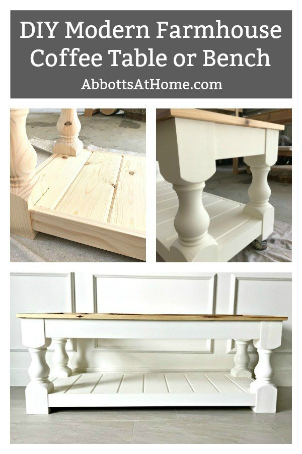 Build this DIY Modern Farmhouse Bench or Coffee Table with a Shelf. Full tutorial and easy to follow plans. #BuildPlans #FreePlans #AbbottsAtHome #ModernFarmhouse