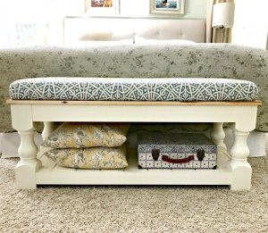 Farmhouse Style DIY Upholstered Bench Plan with Tongue & Groove shelf. Makes a great end of bed bench, dining table bench, living room coffee table or entry bench.