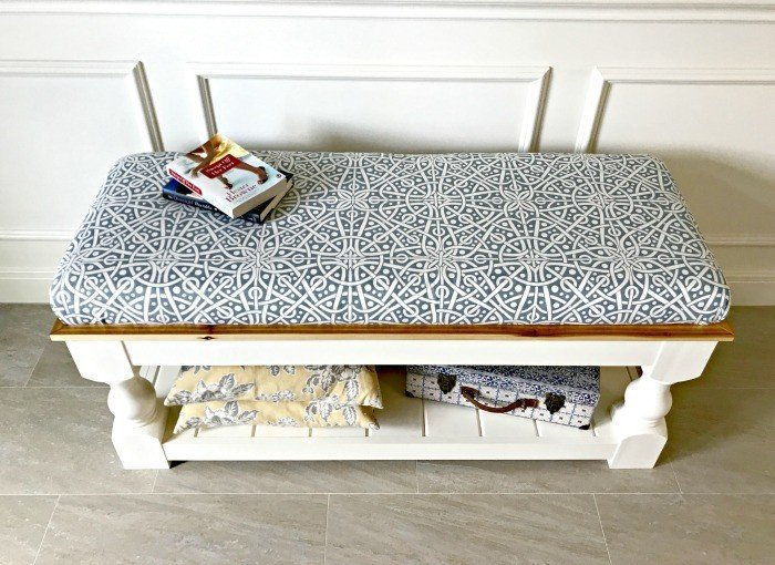 Farmhouse Style DIY Upholstered Bench Plan With Tongue U0026 Groove Shelf.  Makes A Great End
