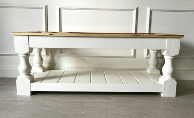 A DIY Upholstered bench with a shelf. How to build an upholstered bench for the end of your bed, entry, dining room, or living room.