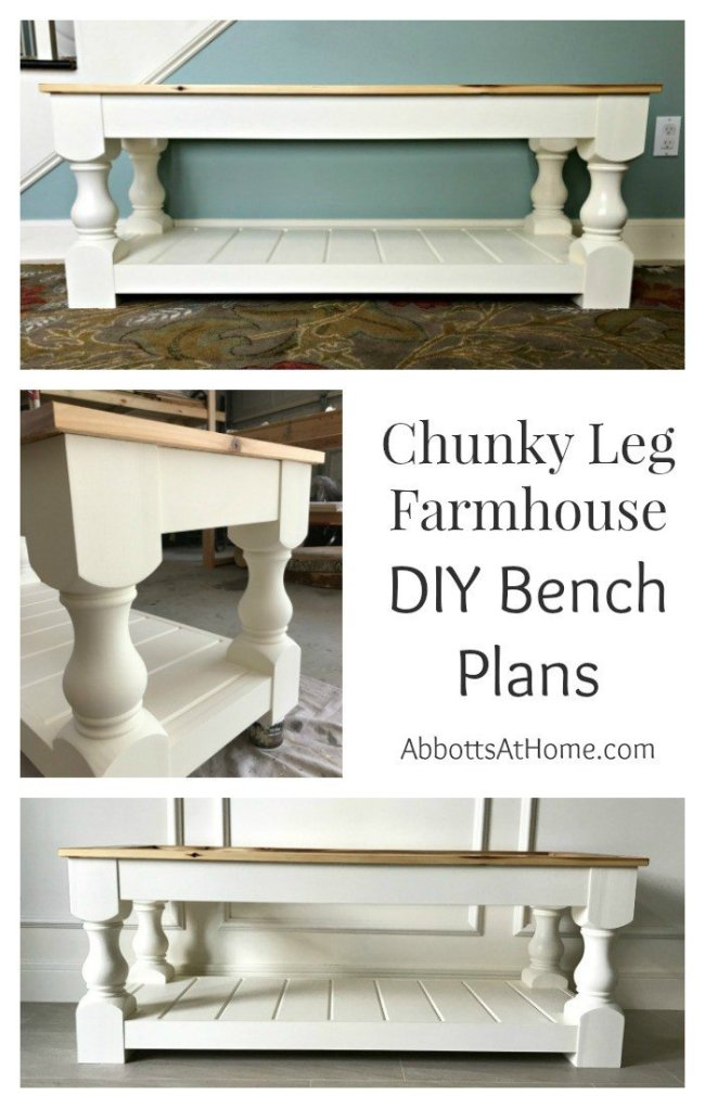 DIY Plans Chunky Leg Farmhouse Upholstered bench with a shelf. How to build an upholstered bench for the end of your bed, entry, dining room, or living room. #Bench #farmhouse #chunky #DIY