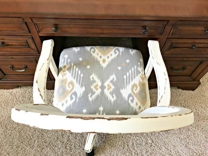 Distressed look on an Office Chair. Get the DIY Steps and my secret to How to paint and distress furniture perfectly, every time. #Distressing #FurnitureMakeover #ChippyFurniture