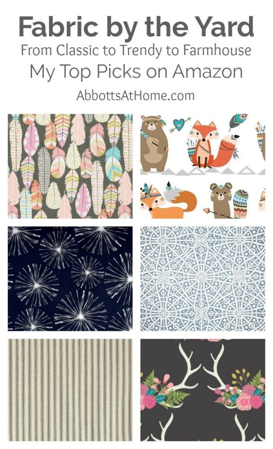 Did you know you can buy fabric by the yard on Amazon? I found a bunch of cool, farmhouse, trendy, and vintage prints when searching for my last upholstery fabric DIY. Check out my favorite upholstery, clothing, bedding, and outdoor fabrics now.
