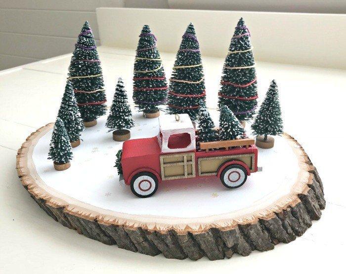Quick & Easy Red Truck DIY Christmas Centerpiece Idea