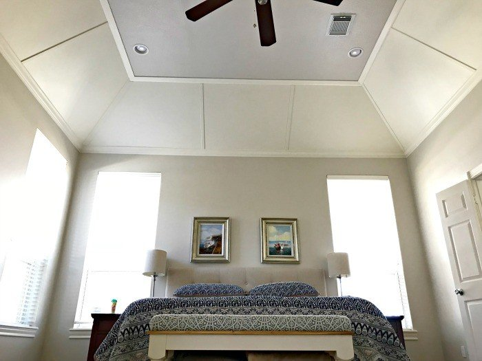 DIY Tray Ceiling Molding and Paneling Feature Steps. If you're wondering how you can turn your boring tray ceiling into a feature, I have the how-to steps for adding trim moulding and panels. Here's a DIY Tray Ceiling Idea you can do. With easy to follow steps. #TrayCeiling #CeilingFeature #CeilingIdeas