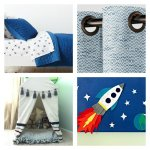 It's time to update our boy's room again. Here's a peek at our 2018 Boys Room Ideas. Blue Triangle Quilt, Blue & White Curtains, DIY Drop Cloth PVC Tent, and DIY Wall Art
