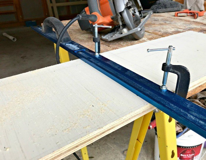Cutting Guide clamped to Plywood. Plywood DIY Kids Book Storage Ideas. Works with Lumber & MDF too. This is a great scrap wood build.