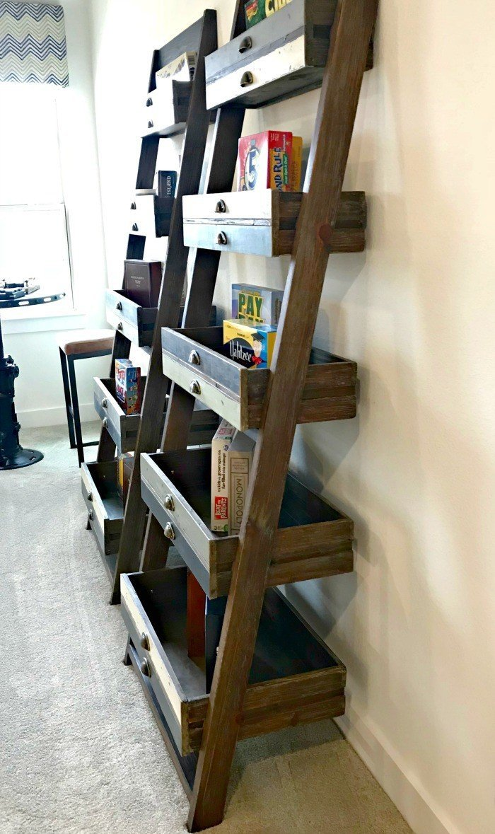 Upcycled Drawer Leaning Bookshelf DIY Idea. Interior and Furniture Design Inspiration Pictures from Model Homes and Local Stores.