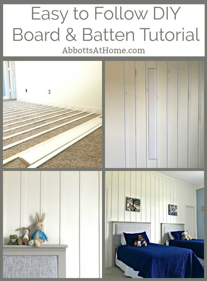 One of my favorite feature wall ideas is this DIY Board and Batten. It's a pretty quick and easy install that adds so much style to a boring room! #AbbottsAtHome #BoardandBatten #FeatureWall #Wainscot #DIYProjects
