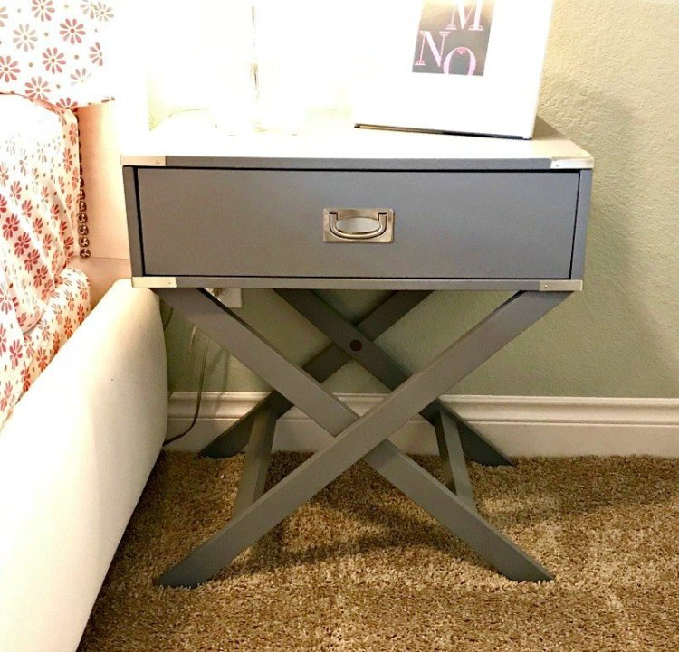 Grey X Base Nightstand Table. Interior and Furniture Design Inspiration Pictures from Model Homes and Local Stores.