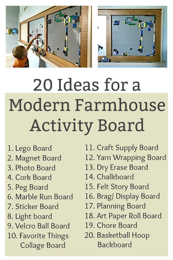 Build a fun DIY Modern Farmhouse Kids Activity Wall Board. With 20 Ideas for board options that work for kids, teens, and adults. Like magnet, lego, cork, chalkboard, calendars, and photo display boards. #ModernFarmhouse #KidsFurniture #DIYKids #AbbottsAtHome