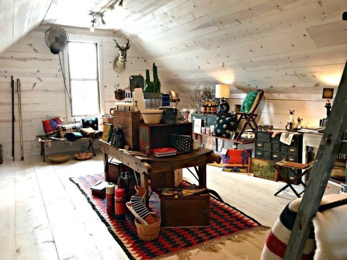 Fun gifts and decor in a whitewashed attic shop room. The Spring and Fall Round Top Texas Antiques and Flea Markets are great! BUT you can find Fun, Art & Furniture Shopping in Round Top, Texas year round, guys! Check out photos from the shops in town. #RoundTop #TexasTravel #AbbottsAtHome