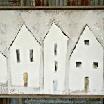 Close look at Mary Gregory White Canvas Art with 5 white house. The Spring and Fall Round Top Texas Antiques and Flea Markets are great! BUT you can find Fun, Art & Furniture Shopping in Round Top, Texas year round, guys! Check out photos from the shops in town. #RoundTop #TexasTravel #AbbottsAtHome