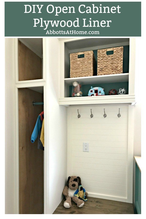 Easy DIY Open Cabinet Makeover with Plywood Panels. Hide ugly, boring, and damaged cabinets to get that trendy open cabinet look. #OpenShelves #OpenCabinets #DIYOpenCabinets #AbbottsAtHome