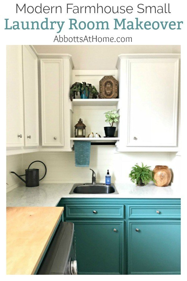 White and Teal Small Laundry Room Makeover. A fresh Modern Farmhouse look using teal, wood, and lots of white. This Modern Farmhouse Small Laundry Room Design is full of easy DIY projects and affordable decor. #LaundryRoom #ModernFarmhouse #Teal #AbbottsAtHome