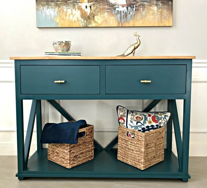 I love this DIY Farmhouse Console Table Plans with Drawers! This tutorial is easy to follow, with loads of pictures. This table would work great as an entry table or in a Dining Room too. #ConsoleTable #EntryTable #DIYFurniture #AbbottsAtHome