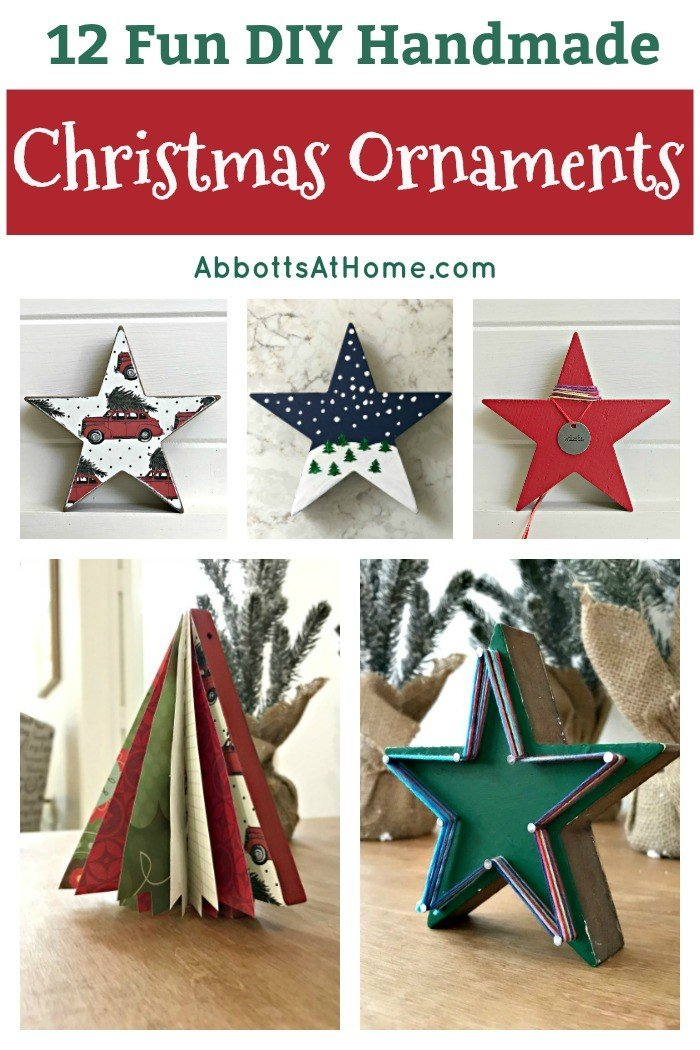 Need some new ideas for this years Christmas craft? I've got 12 fun and easy handmade Christmas Ornament Ideas for you! Make 3D scrapbook paper trees, pom pom trees, star string art, unicorn stars, and more. #AbbottsAtHome #Handmade #ChristmasCrafts #ChristmasIdeas #ChristmasOrnaments
