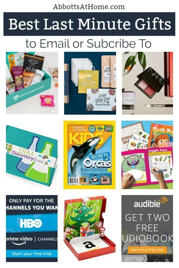 25+ of the best last minute gifts you can email or subcribe to for someone. It's not too late to get your friend, boss, aunt, favorite kid a great last minute gift. These work for birthdays, Christmas, graduation, Mothers Day, Fathers Day, any special day! #AbbottsAtHome #BestGifts #GiftIdeas #GiftForHer #GiftForHim #GiftForKid #BestGifts