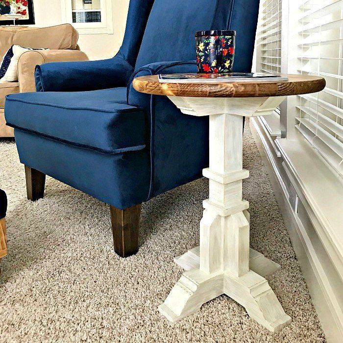 $50 Round Top DIY Pedestal Accent Table Plans