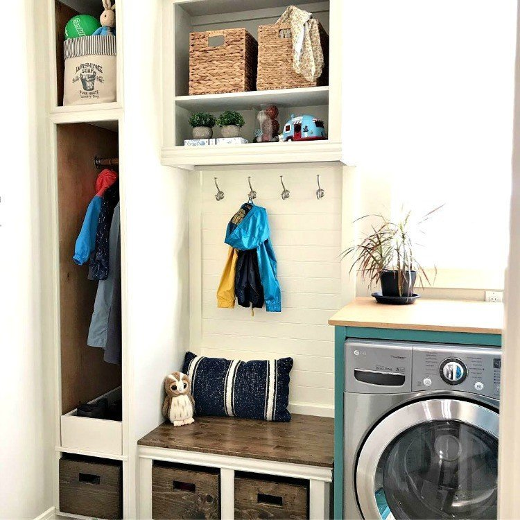 How I Added A Mudroom To Our Laundry Room U2013 Bench And Shoe Storage
