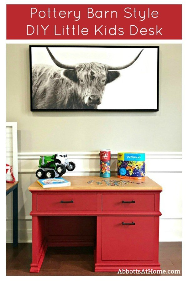 Here's how to build a super cute, Pottery Barn Style DIY Kids Desk with Storage. With free printable plans! This Little Kids Wood Desk has 3 big drawers for lots of storage and a classic look that'll make a pretty family heirloom piece. #DIYFurniture #BuildPlans #Woodworking #KidsDesk #AbbottsAtHome #PotteryBarn