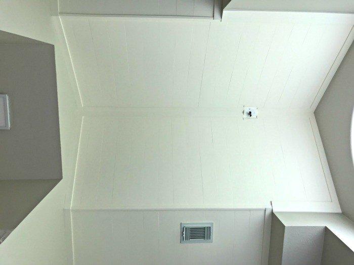 DIY Plywood Plank Ceiling Installation, in our Bathroom