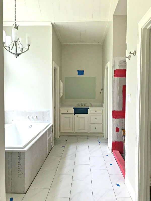 I'm loving this Marble Look Porcelain Tile, guys. The 12x24 size looks beautiful. The non-slip matte finish is pretty and perfect for a bathroom. And the grey marble veining is so subtle. I can't believe how cheap it was! #AbbottsAtHome #MarbleLook #MarbleFloor #PorcelainTile #BathroomTile