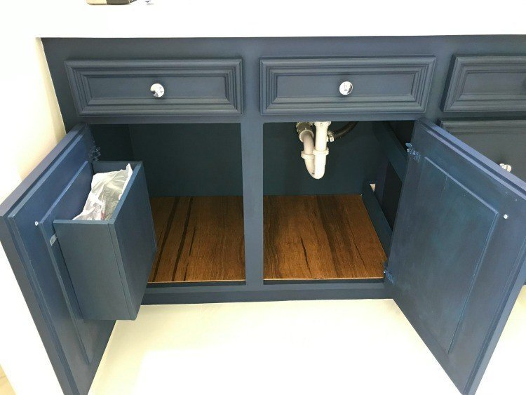 DIY Stained Luan Plywood Cabinet Liners in a bathroom vanity. #AbbottsAtHome #Plywood #Remodeling #DIYIdeas