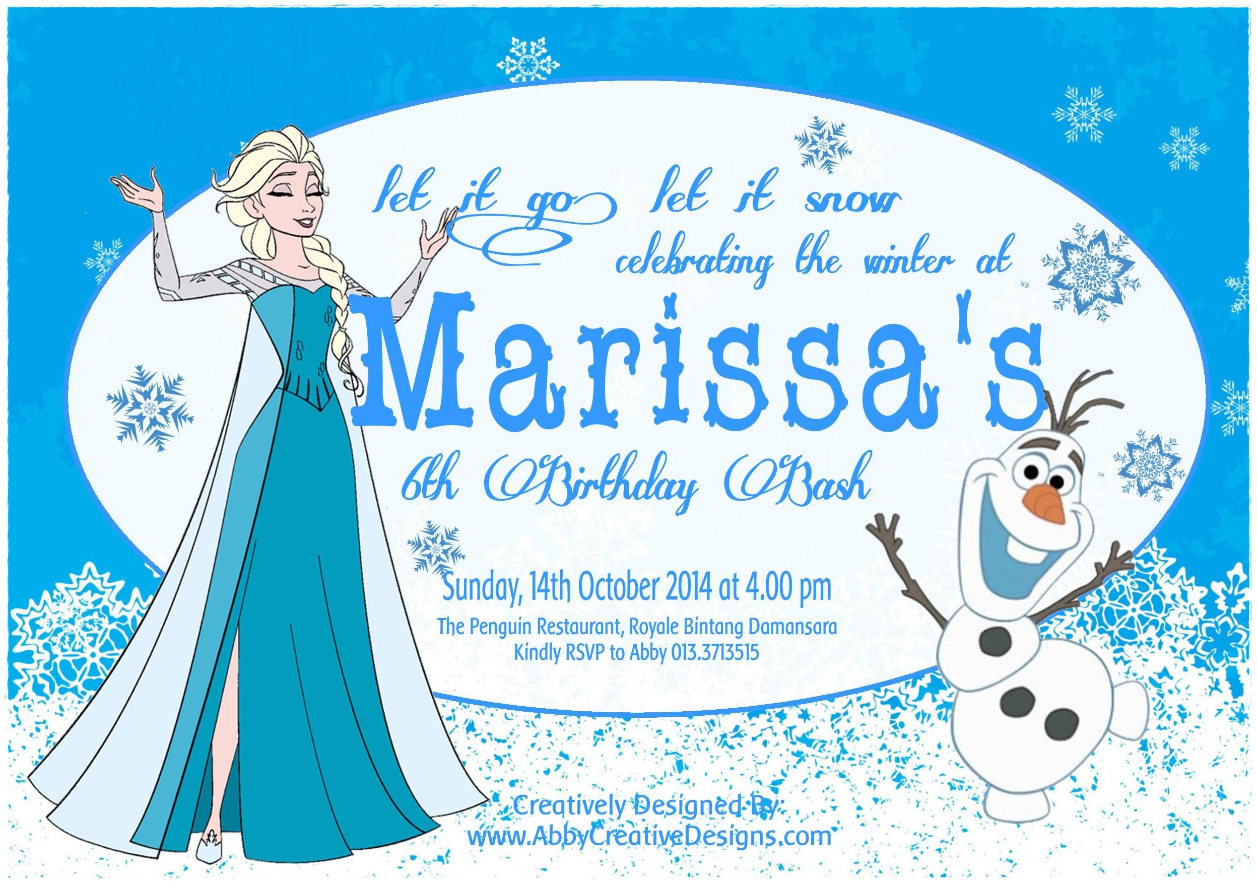 frozen birthday invitation card its