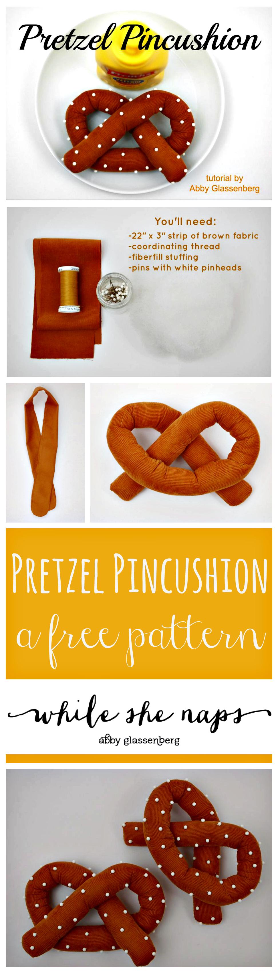 A free pattern for a Pretzel Pincushion.