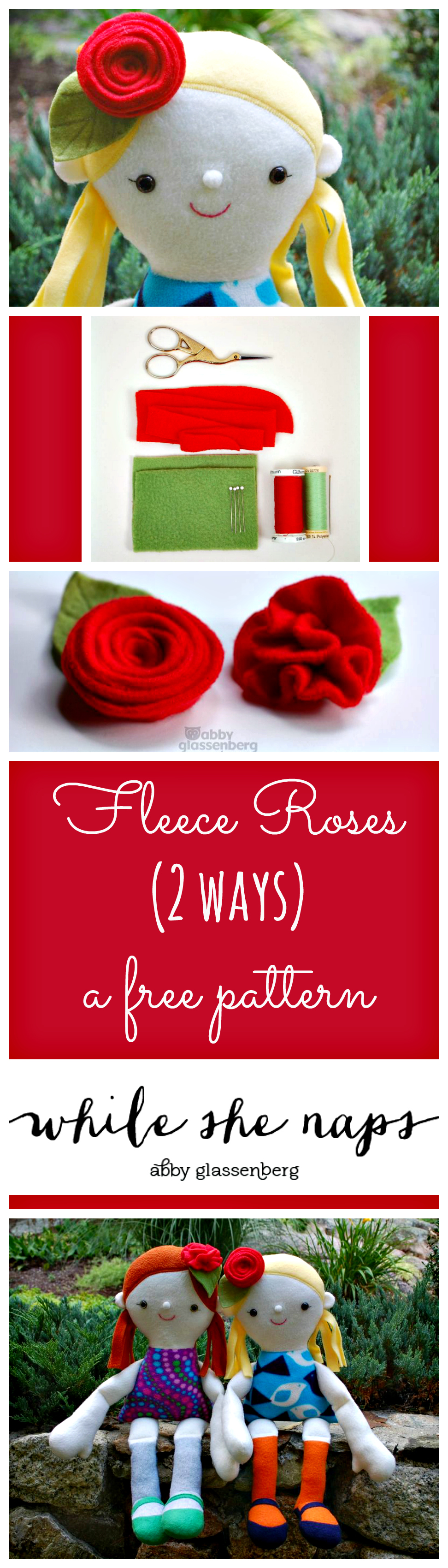 A free pattern for Fleece Roses, 2 ways.