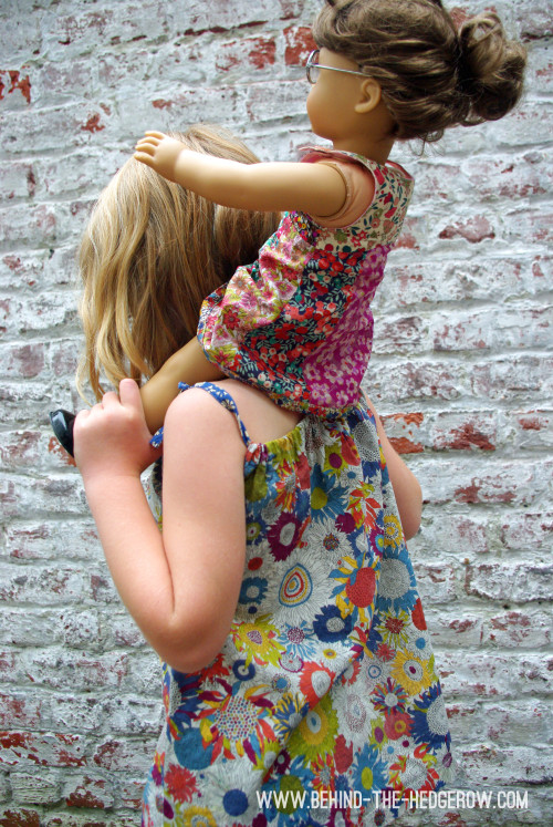 Liberty-dress-turned-into-top-and-olivers-tea-party-doll-dress-on-shoulders