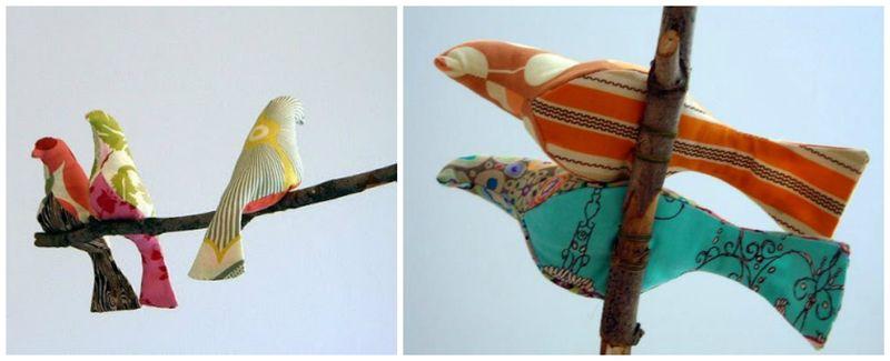 Spool Birds Hanging