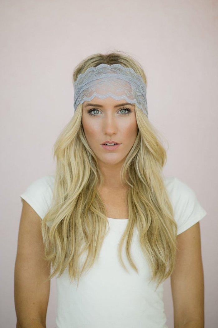 Gray Lace Headband by Three Bird Nest