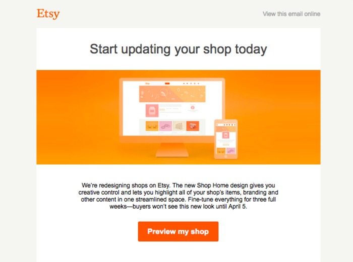 Etsy Email about Shop Redesign