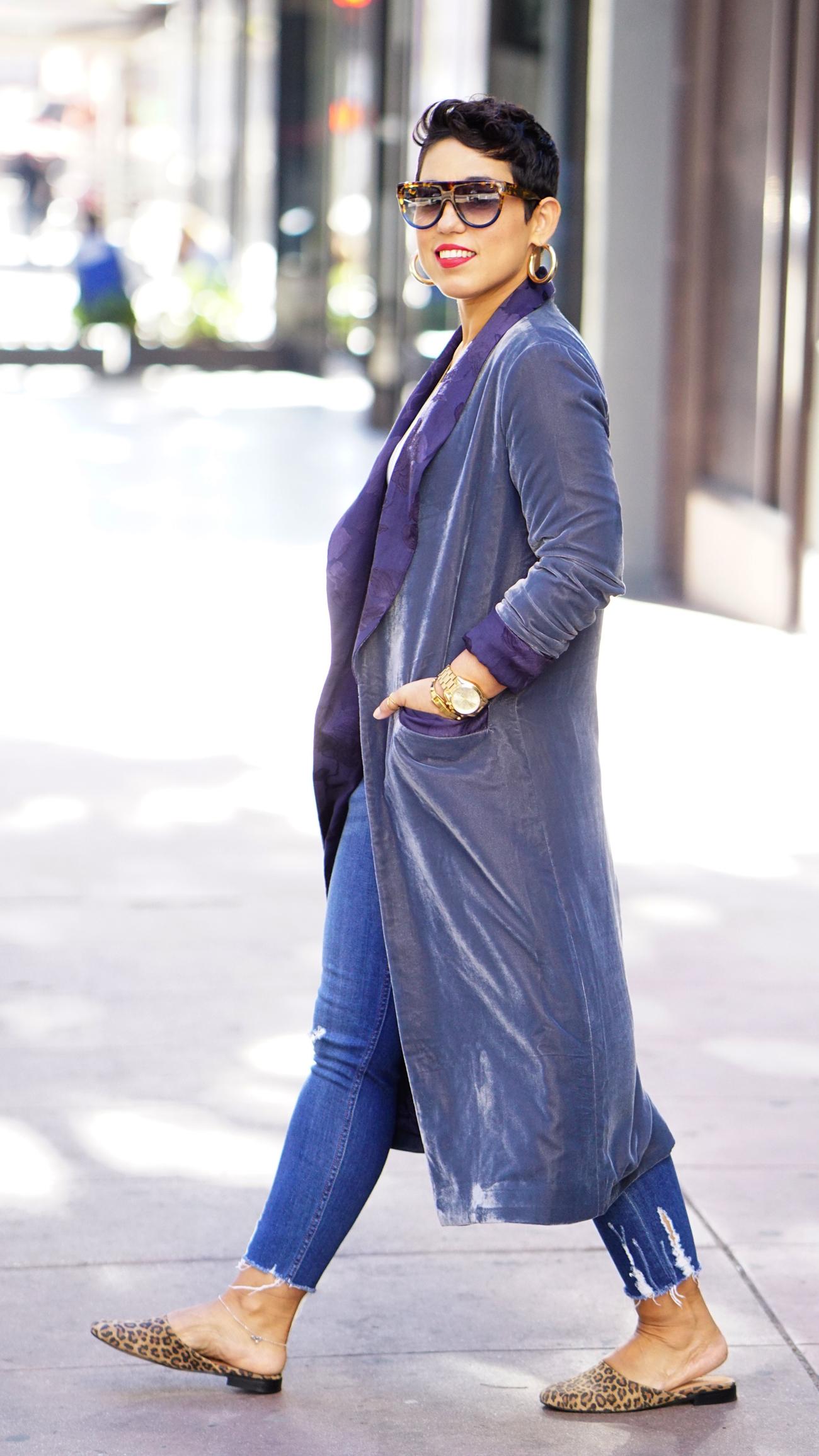 mimig in a velvet jacket