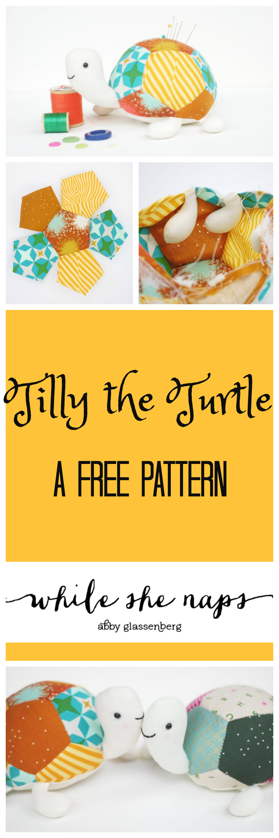 Tilly the Turtle is a free pattern that makes an adorable softie, as a pin cushion or a snuggly toy. Learn to paper piece with this cute turtle!