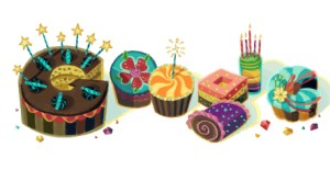 My opening Google page with a message wishing me Happy Birthday