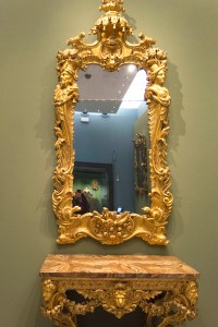 English Rococo mirror and side table