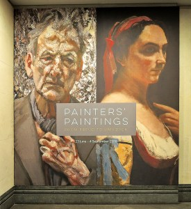 Poster for Painters' paintings showing Lucien Freud and his Corot portrait