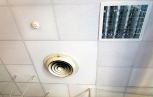 Ventilation panels in ceiling