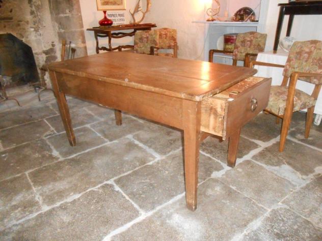 Table de ferme en chêne avec Tiroir (Auvergne)